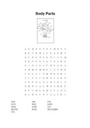 English Worksheet: Body Parts Wordsearch