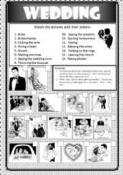 English Worksheet: topic to discuss: wedding