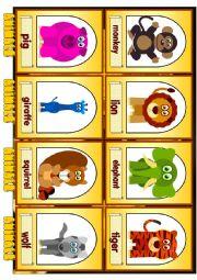 English Worksheet: Animals. Flashcards. Part I.