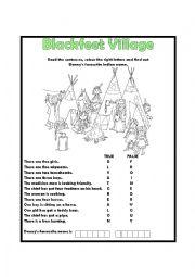 English Worksheet: Blackfeet Village