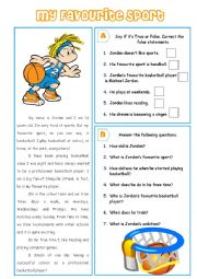 English Worksheet: My Favourite Sport - reading