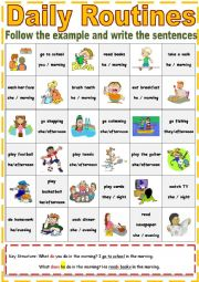 daily routine english sentences past tense