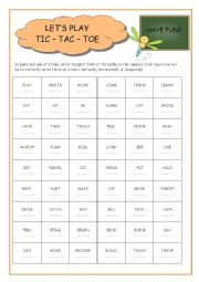 English Worksheet: Past Tic-Tac-Toe game