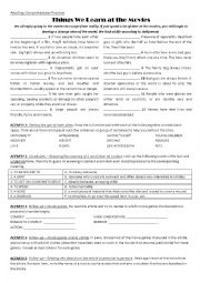 English Worksheet: Reading Comprehension: Movie Genres and Cliches