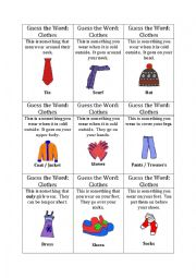 English Worksheet: Guess the word game (clothes)