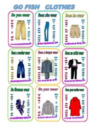 English Worksheet: GO FISH - CLOTHES