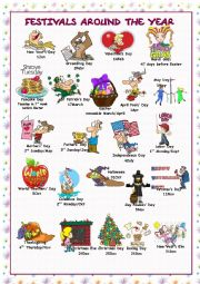 English Worksheet: Festivals Around the Year (Picture Dictionary)