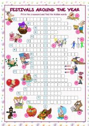 English Worksheet: Festivals Around the Year (Crossword Puzzle)