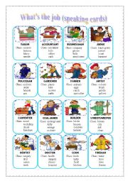 English Worksheet: What�s the job - speaking cards (editable)