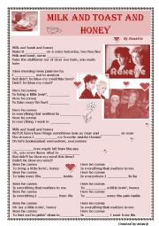English Worksheet: Roxette - Milk and Toast and Honey (song worksheet)