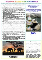 English Worksheet: Picture-based conversation : topic 17 - zoo vs nature