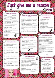 English Worksheet: Just give me a reason - Pink