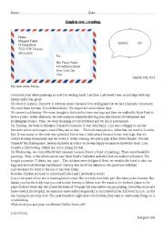English Worksheet: Reading: a letter from England