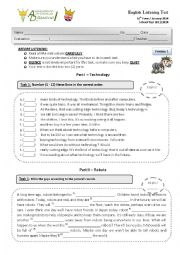 English Worksheet: Listening Test about Robots & Technology