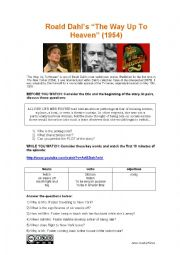 English Worksheet: 4 skills lesson: Roald Dahl´s THE WAY UP TO HEAVEN