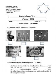 English Worksheet: end term test (6th form) Bahrain schools