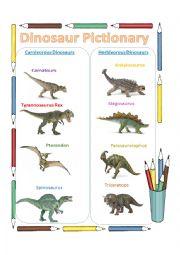 English Worksheet: Dinosaur pictionary