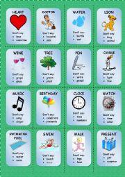 English Worksheet: TABOO CARDS (1/3)