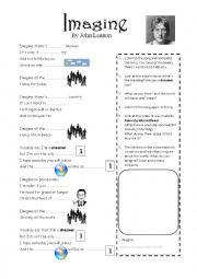 English Worksheet: Imagine -  John Lennon