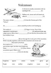 English Worksheet: volcanoes cloze, quizz
