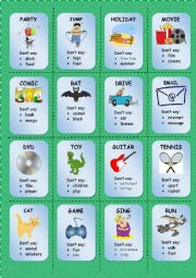 English Worksheet: TABOO CARDS (2/3)
