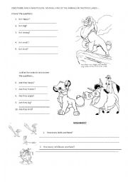 English Worksheet: The Lion King Movie Worksheet: Answer questions/Animals vocabulary