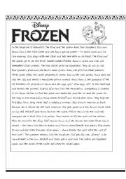 English Worksheet: frozen - 2 pages