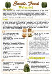 English Worksheets: Exotic Food Webquest