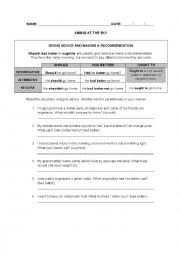 English Worksheet: SHOULD, HAD BETTER and OUGHT TO
