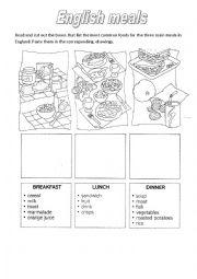 English Worksheet: English meals