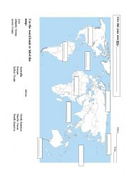 English Worksheet: Label the World Map Assessment