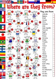 English Worksheet: Where are they from? - matching