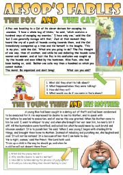 English Worksheet: Aesop´s fables for reading and discussing the moral.