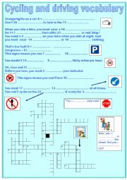 English Worksheet: Cycling and driving vocabulary - crosswords