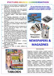 English Worksheet: Picture-based conversation : topic 21 - newspapers & magazines vs tabloids.