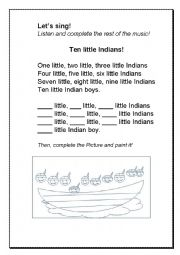 English Worksheet: Ten Little Indians!