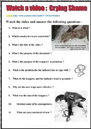 English Worksheet: Watch a video and react. CRYING SHAME (listening + youtube link) + key + teachers� extras