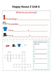 English Worksheet: Happy House 2 lesson 6 Clothes extra activity