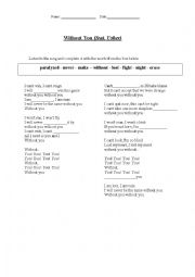 English Worksheet: Without You - David Guetta feat. Usher
