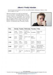 English Worksheet: Alberto´s Weekly schedule