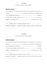 English Worksheet: Summary of the song