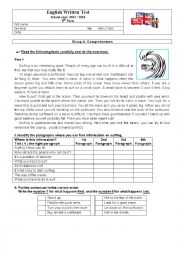 English Worksheet: Test - Sports