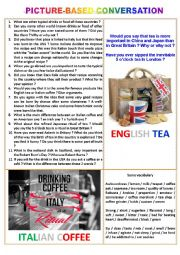 English Worksheet: Picture-based conversation : topic 24 - Italian coffee vs English tea