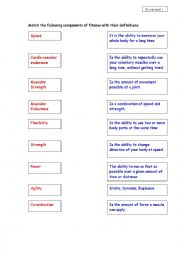 English Worksheet: Components of fitness