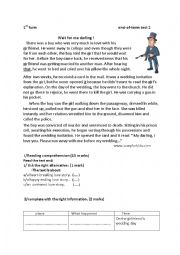 English Worksheet:  end-of-term test 2/ 1st form  love story: wait for me darling !