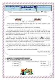 English Worksheet: 7th form pioneer school end of term test 2