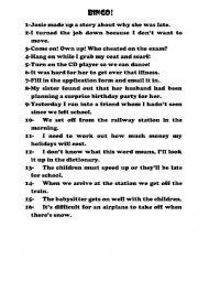 English Worksheet: Bingo game! Phrasal Verbs