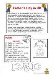 English Worksheet: father´s day traditions and a poem