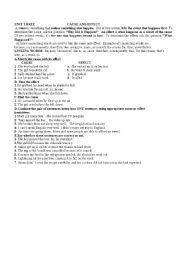 English Worksheet: expressing cause and effect