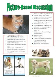 English Worksheet: Picture-based discussion:cats vs dogs?